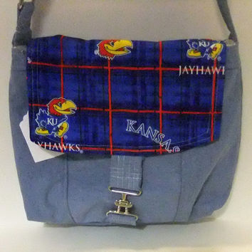 Medium Messenger Bag - made by me with KU - Jayhawk fabric- crossover purse