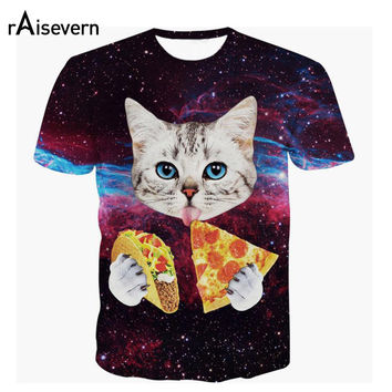 Raisevern 2017 New Galaxy Space 3D T Shirt Lovely Kitten Cat Eat Taco Pizza Funny Tops Tee Short Sleeve Summer Shirts Plus Size