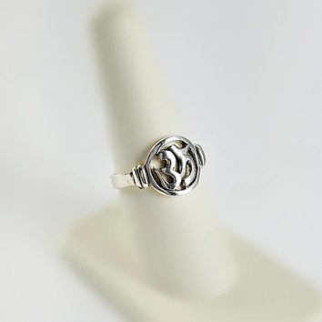 Script Ring - Sterling Text Ring Size 7.75 - Silver Symbol Ring - Character Design Sterling Ring