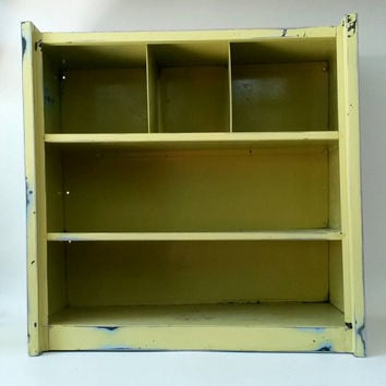 Industrial Metal Cabinet Distressed Rusty Shop Yellow Storage Toolbox Commercial Bathroom Towel Rack Kids Toy Box Kitchen Shelf Bookshelf