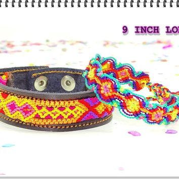Leather Bracelet, Mexican bracelet, Friendship Bracelet, Fabric Jewellery.