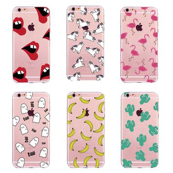 Cute Unicorn BOO Flamingos Ice Cream Fruit Banana Cactus Sexy Lips Clear Soft TPU Silicone Case For iPhone 5 5S SE 6 6S 7 Plus
