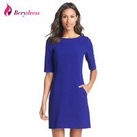 Berydress Elegant Chic  Short Sleeve Shift Dress  Hot Selling Pockets Casual Wear to Work OL Business Dress Short