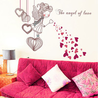 [Saturday Monopoly] the angel of love wall stickers for kids rooms bedroom decoration Child stickers DIY wall decals home decor
