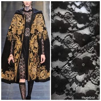 SALE! Designer Fabric Stretch Lace Black By the Yard- French Floral Lace