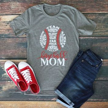 Baseball Mom O-Neck T-Shirt /Casual Sport Tee