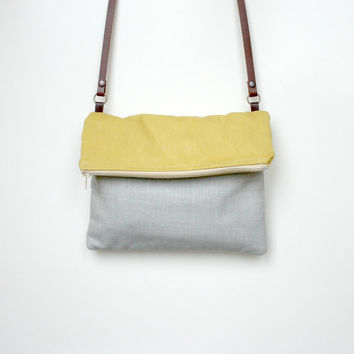 Foldover bag Colorblock Purse Yellow Grey washed canvas handbag sunshine leather strap