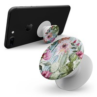 Vintage Watercolor Cactus Bloom - Smartphone Extendable Grip & Stand Skin Kit