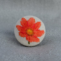 Ring tangerine flower Cross stitch ring Embroidered jewelry Unique flower Ring handmade Blaze flower Round ring Gift for her