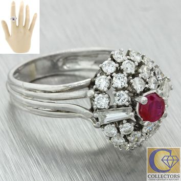 Vintage Estate 14k Solid White Gold 1.74ctw Diamond Ruby Cluster Ring