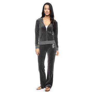 Juicy Couture Studded Logo Crown Flower Velour Tracksuit 8604 2pcs Women Suits Dark Grey