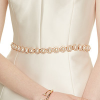 pearl and crystal flower tie belt