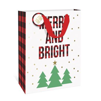 Merry and Bright Plaid Large Gift Bag