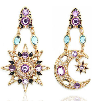 JoJo & Lin Heavenly Body Asymmetrical Earrings Vintage Sun Moon Design Crystal Drop Earrings
