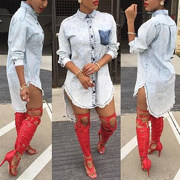 high quality women s blouses jeans shirt 2016 spring denim shirts pockets top women s clothing large size clubwear jeanswear