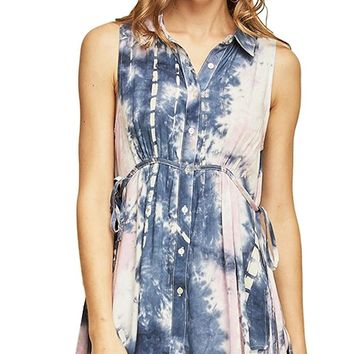 Entro Women's Sleeveless Tie-Dye Print Button Down Shirt with Side Ties and Hi-Low Hem