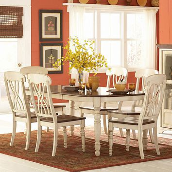 HomeVance Kaycee 7-pc. Extendable Dining Table & Chair Set (Cherry/White)