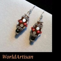 WA Bali Indonesian Artisan Earrings Brown Silver Black Lacquer Beads Metal Chain