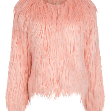 Peach Pink Collarless Faux Fur Coat