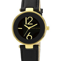 Anne Klein Watch, Women's Black Leather Strap 34mm AK-1064BKBK - All Watches - Jewelry & Watches - Macy's