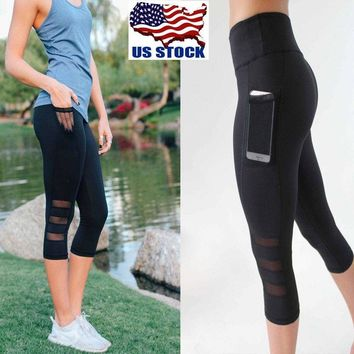 US Womens Capri YOGA Workout Running Gym Sport Pants Leggings Fitness Black Mesh