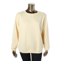 Karen Scott Womens Plus Fleece Crew Neck Sweatshirt