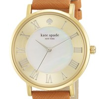 Women's kate spade new york 'metro grand' round leather strap watch, 38mm