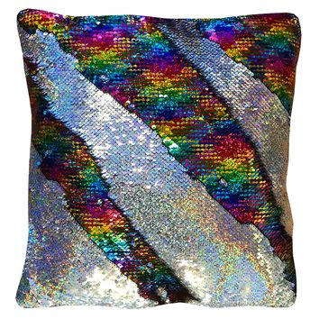 """16""""x16"""" with INSERT Mermaid Flip Sequin Pillow that Changes Color-Rainbow Silver Holographic"""