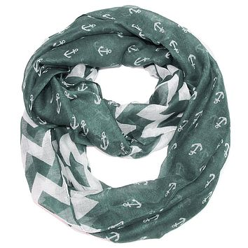 Anchor Chevron Infinity Scarf- Gray