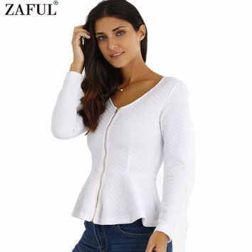 ZAFUL Women Spring Blazer White Black Casual Jacket Long Sleeves Gold Zipper Ruffled Peplum Cut Stretchy Cotton Feminino Coats