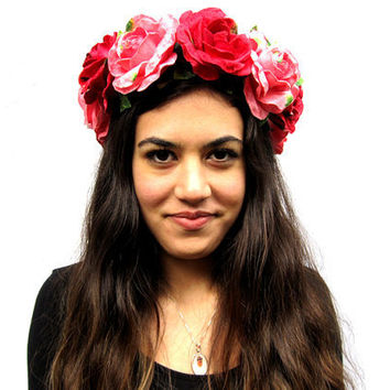 Rose Crown - Frida Kahlo, Lana Del Ray Pink and Red Velvet Rose Flower Crown - Dias de lost Muertos, Day of the Dead, Fairy Crown