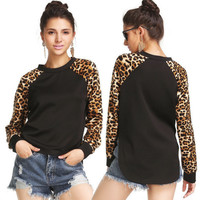 Long Sleeve Patchwork Leopard Hem Slim