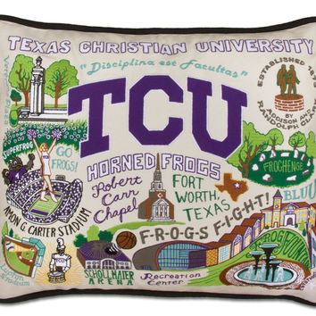 Texas Christian University Embroidered Pillow