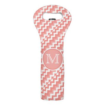 Chevron Coral White Monogram Wine Tote