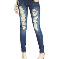 Celebrity Pink Jeans Juniors Jeans, Skinny Leg, Destroyed Dark Wash - Juniors Jeans - Macy's