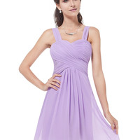 Violet Braces Chiffon Pullover Middle Dress