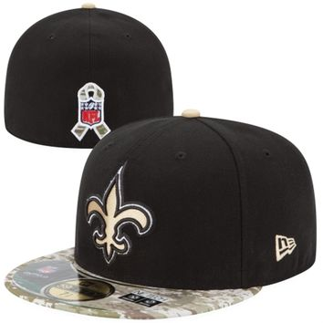 New Orleans Saints New Era Black/Digital Camo Salute to Service On-Field 59FIFTY Fitted Hat