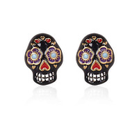 Black floral skull stud earrings - earrings - jewelry - women