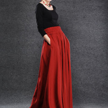 Red Linen Maxi Skirt - Dark Red Full Long Skirt with Elasticated Waist and Two Side Pockets - Made-to-Measure C054