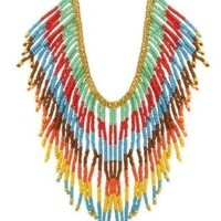 Zad Multi-Colored Seed Bead Fringe Tribal Necklace Gold Tone:Amazon:Jewelry