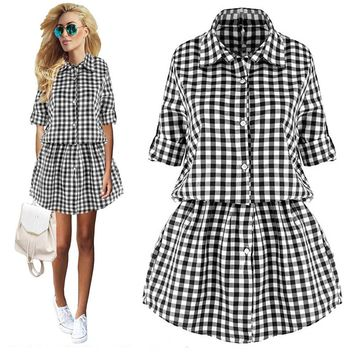 Womens Plaid Elastic Waist Turn down Collar Long Sleeve Tunic Button Mini Dress
