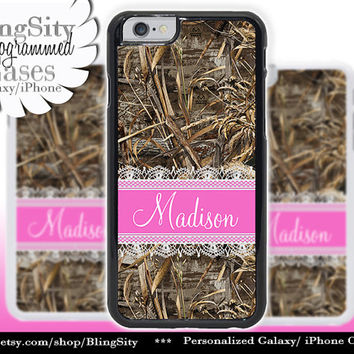 Camo Hot Pink Monogram iPhone 5C 6 Case Plus Lace iPhone 5s 4 case Ipod Realtree Custom Name Personalized Country Inspired Girl