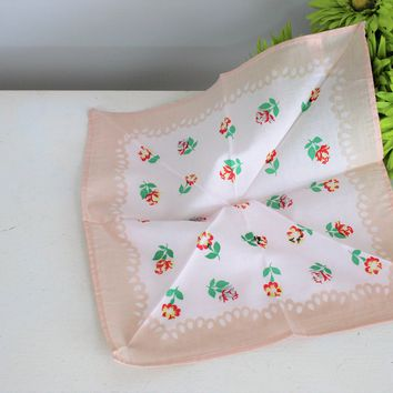 Vintage Cotton Handkerchief Floral Print of Pink Yellow & Taupe Roses