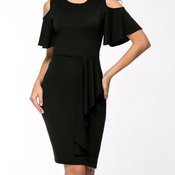 Streetstyle  Casual Open Shoulder Cascading Ruffles Solid Bodycon Dress In Black