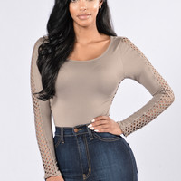 Look Into Your Soul Bodysuit - Taupe