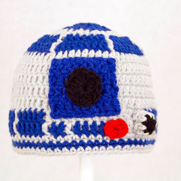 R2D2 Hat from Star Wars, Grey and Royal Blue Crochet Droid Beanie, send size choice baby - adult