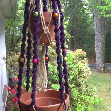 Macrame Plant Hanger, double hanger, 4 ply jute in purple, yellow and natural,  colorful wooden beads, two tier unique hanger