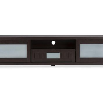 Baxton Studio Gerhardine Dark Brown Wood 70-inch TV Cabinet with 2 Sliding Doors and Drawer  Set of 1