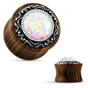 Tribal Casting around Opal Center Organic Wood Saddle Plug