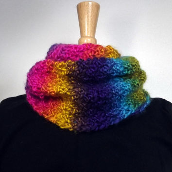 Rainbow Cowl Women's Knit Cowl Multicolor Infinity Scarf Bright Neon Fashion Accessories Scarfie